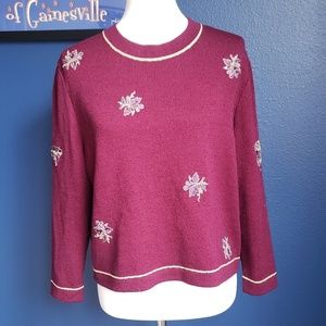 St. John Purple and Gold Embroidered Wool Sweater